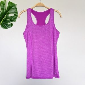 Purple and white striped athletic tank top
